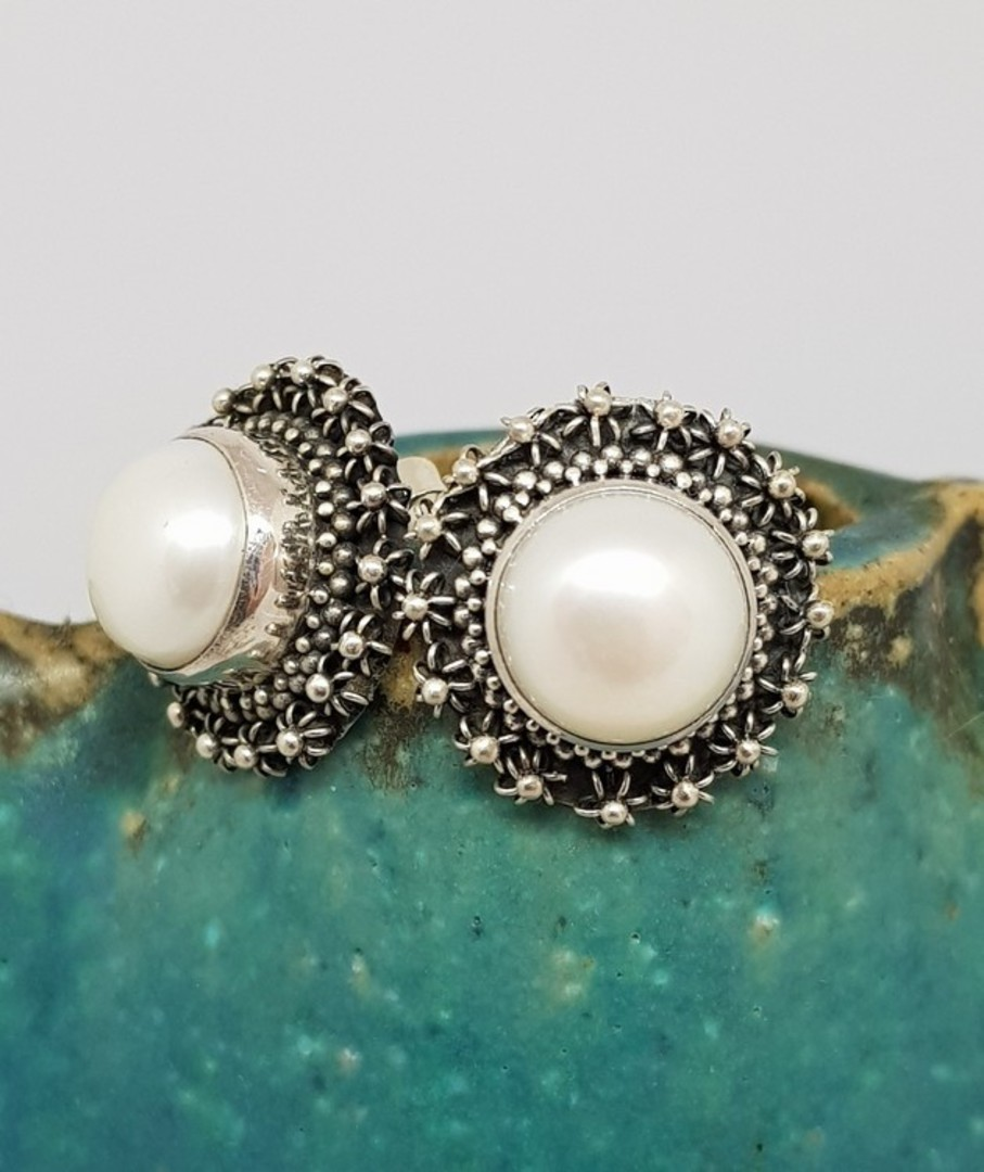 Large white pearl stud earrings with filigree silver frames image 0