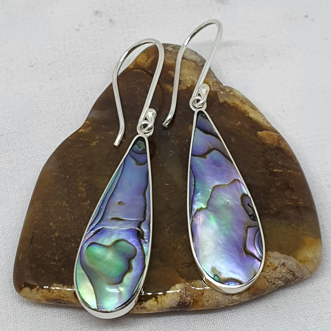 Elongated teardrop paua shell hook earrings image 0