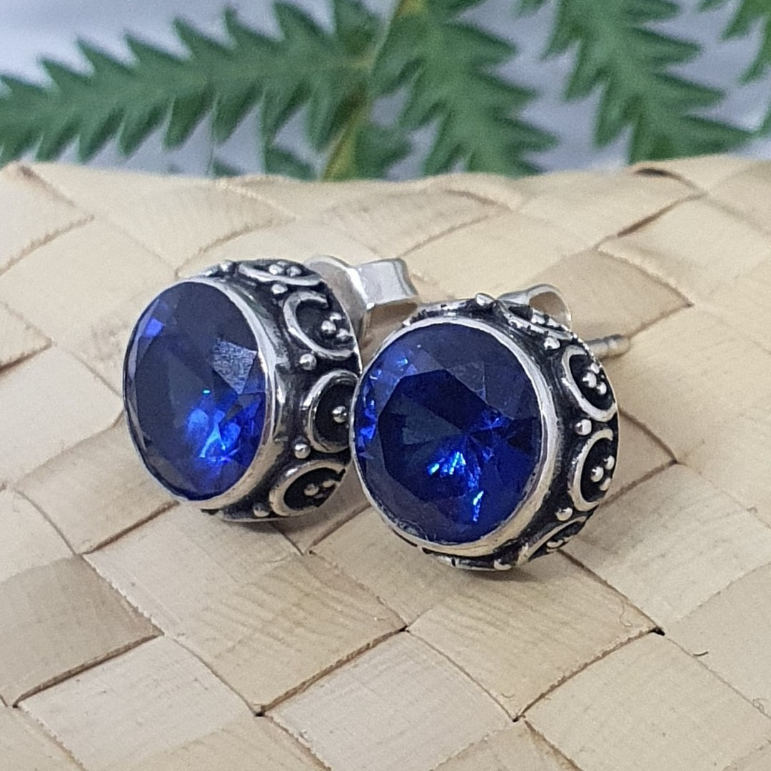 10mm round filigree synthetic sapphire stud earrings image 1