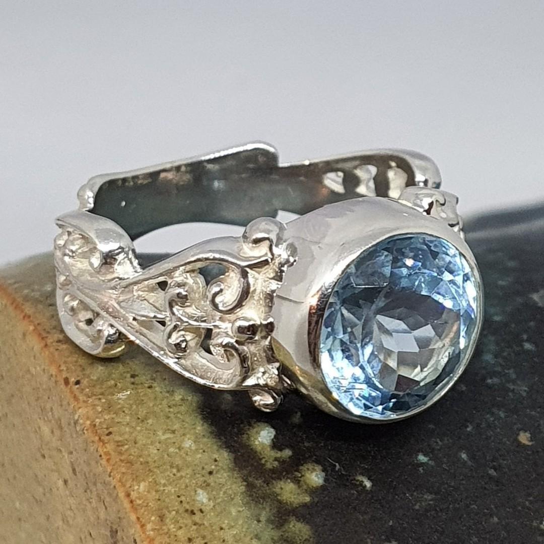 Sterling silver blue topaz gemstone ring image 5