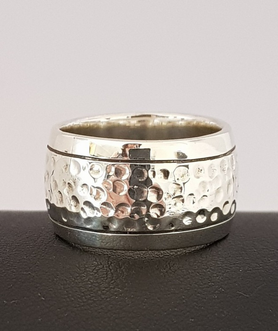 Sterling silver wide band ring  with hammered detail image 0