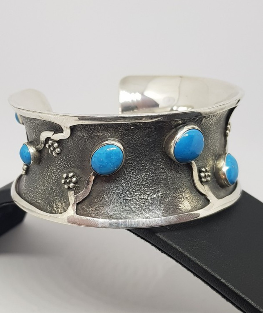 Sterling silver cuff bangle with turquoise gemstones image 0