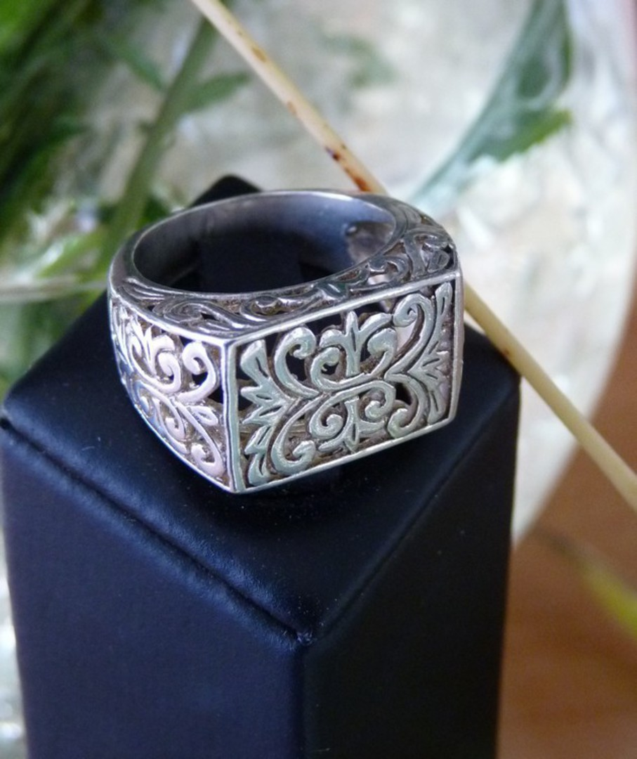Sterling silver silver filigree lace ring image 3