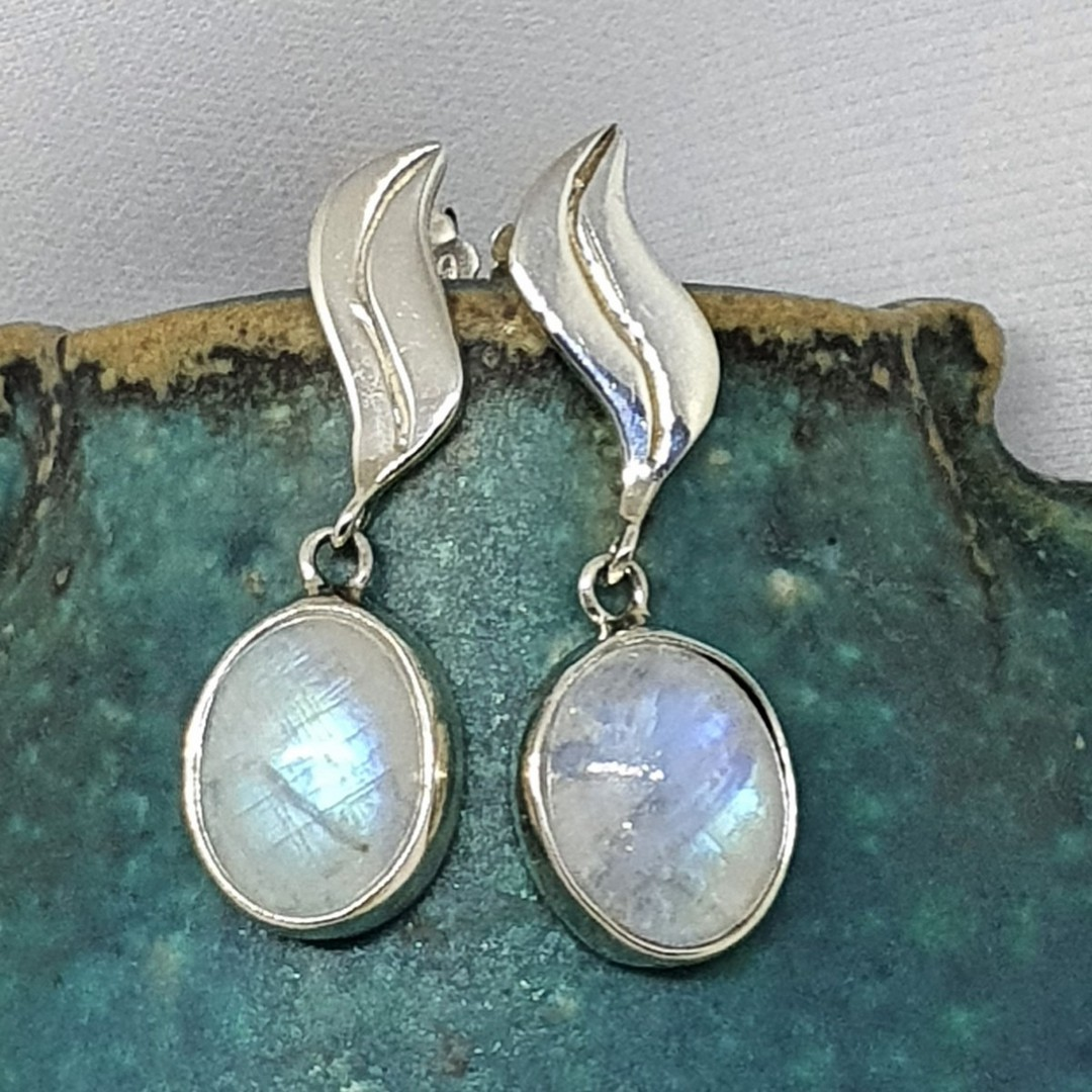 Silver moonstone earrings with stud fitting image 0