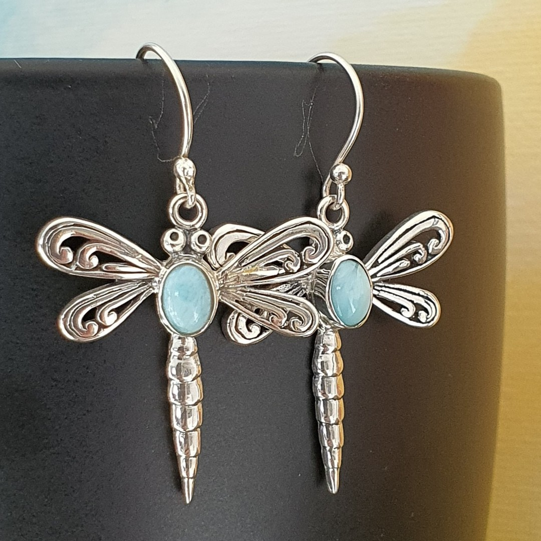 Silver dragonfly earrings with larimar gemstone image 0