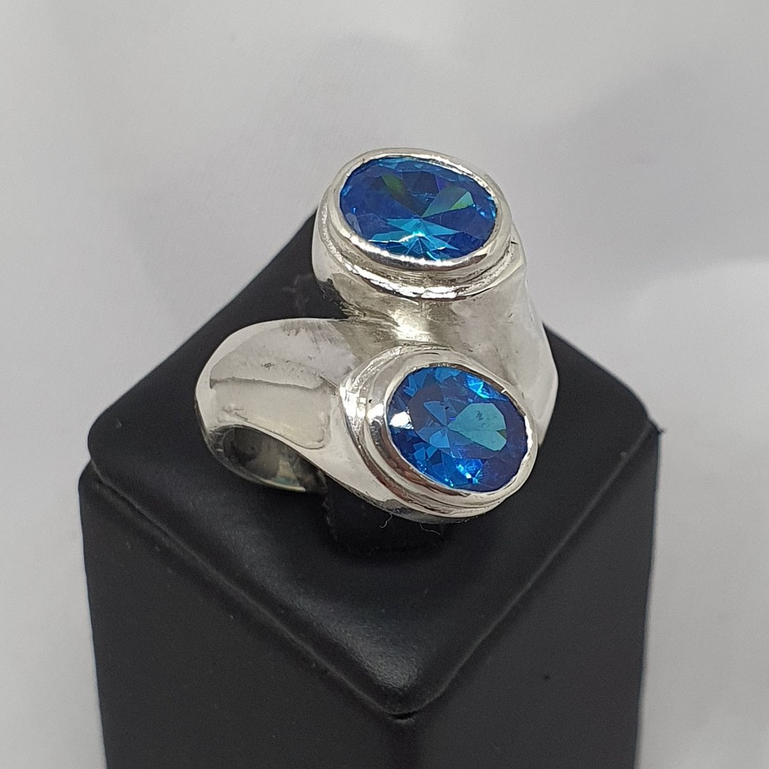 Sterling silver sparkling blue gemstone ring, made in NZ image 1