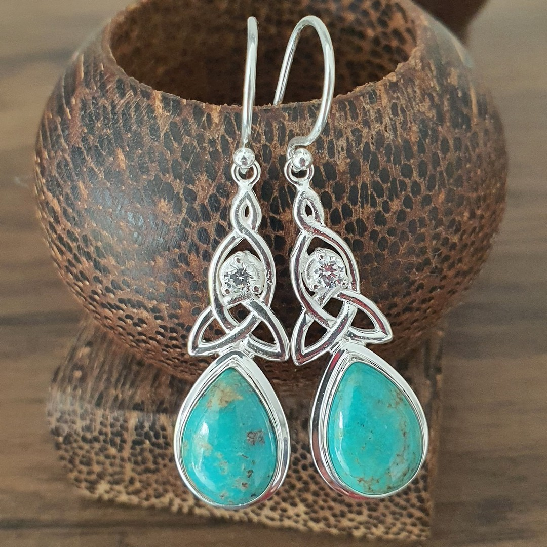 Silver turquoise earrings with infinity knot and cz image 0