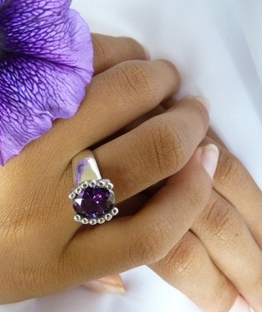 Silver ring with deep purple stone - made in NZ image 1