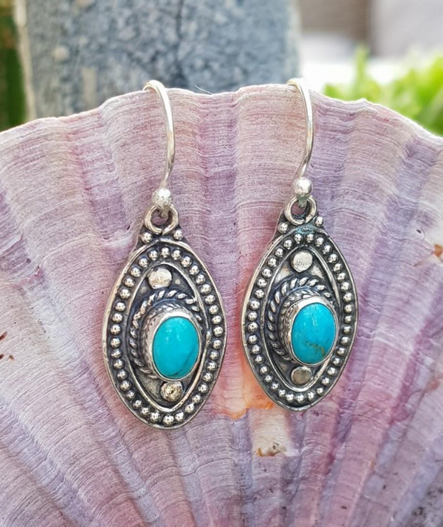 Sterling silver hook turquoise earrings image 1