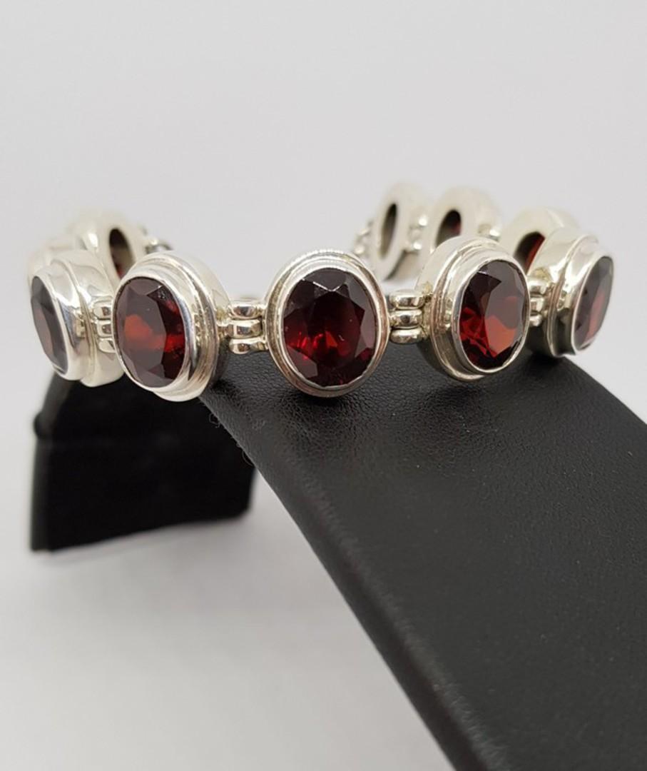 Gorgeous Sterling Silver Garnet Bracelet - now on sale image 1