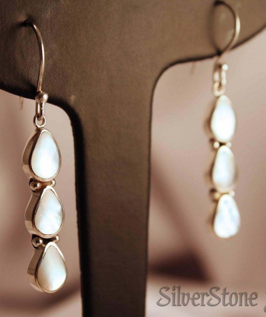 Sterling silver long elegant mother of pearl earrings image 2
