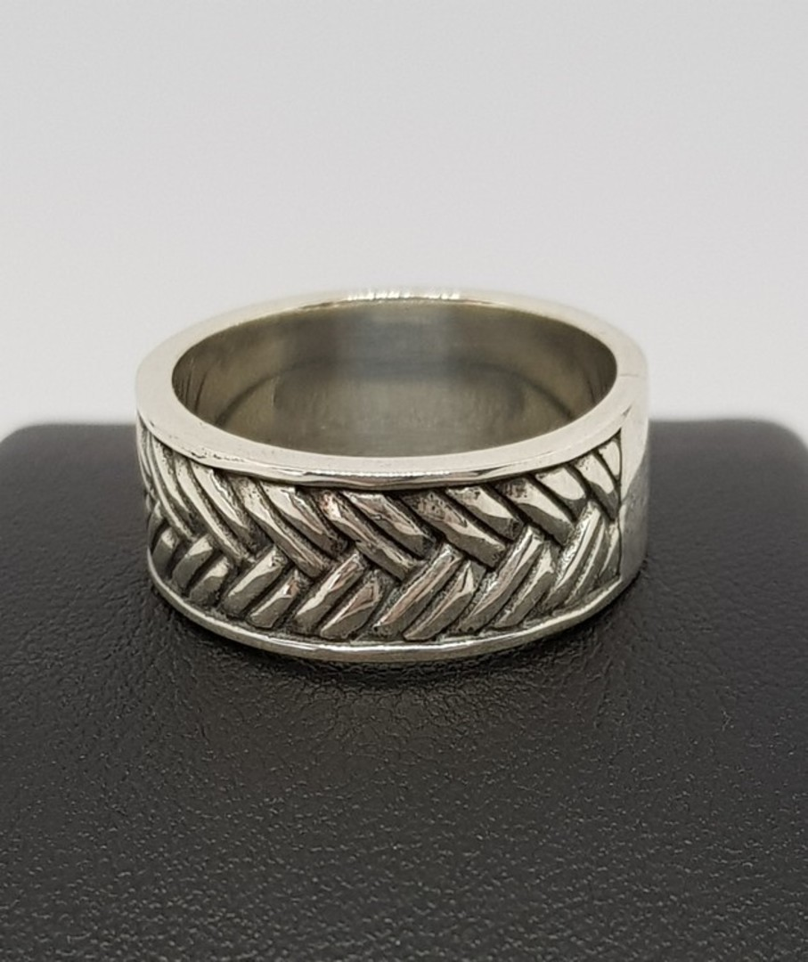 Sterling silver wide band ring with basket weave pattern image 2