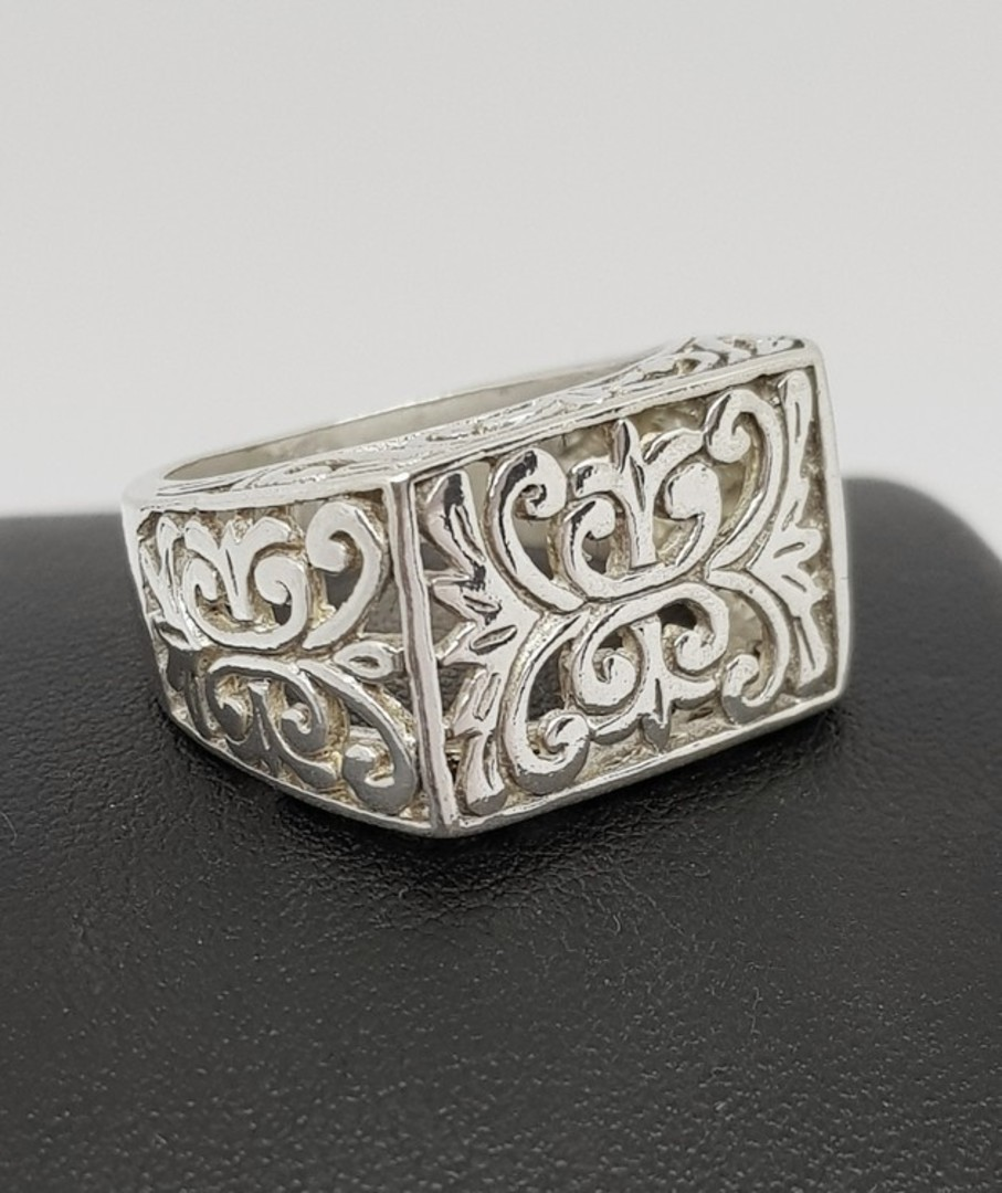 Sterling silver silver filigree lace ring image 0