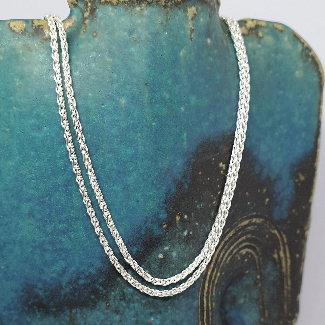 Fabulous long sterling silver wheat chain, 60cms long image 1