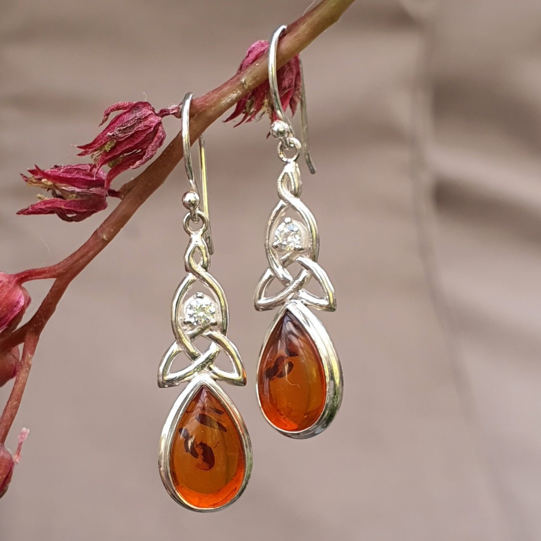Silver amber earrings with infinity knot and cz gemstone image 1