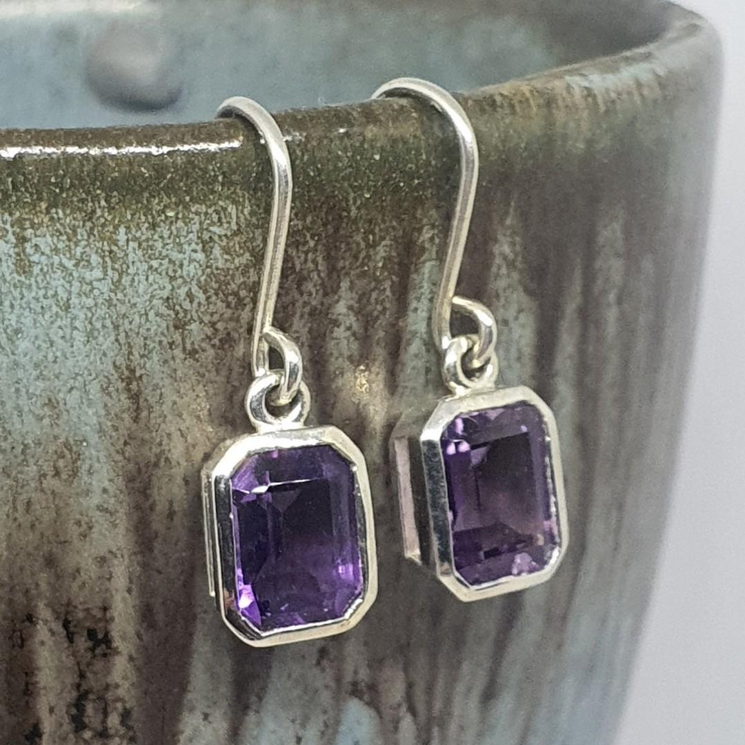Sterling silver amethyst earrings image 3