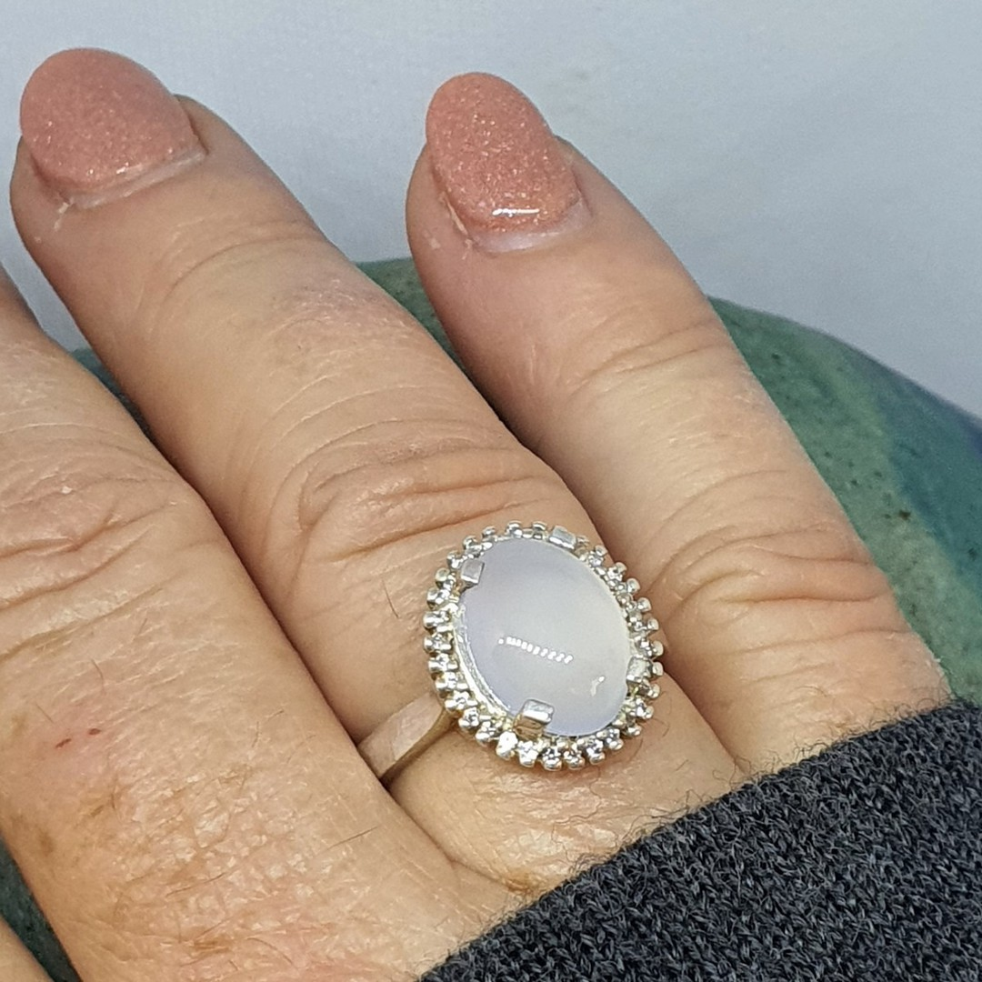 Sterling silver chalcedony ring image 4