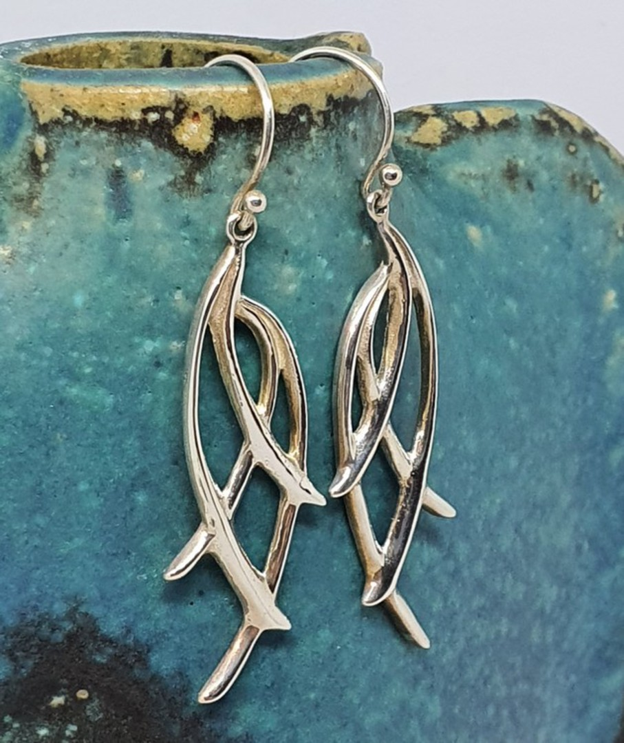 Long silver abstract branch earrings image 0
