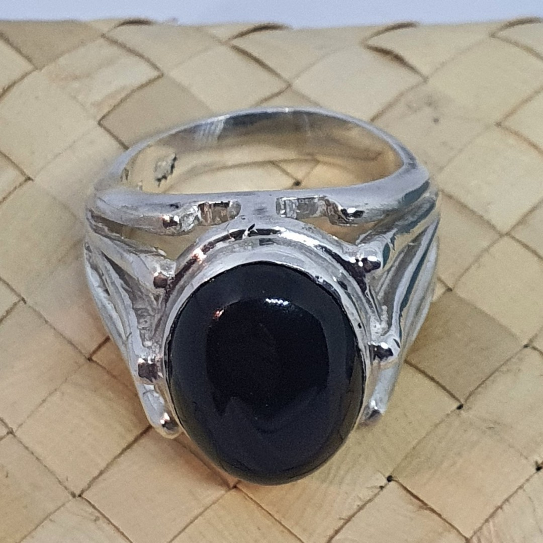 Made in New Zealand, sterling silver onyx gemstone ring image 1