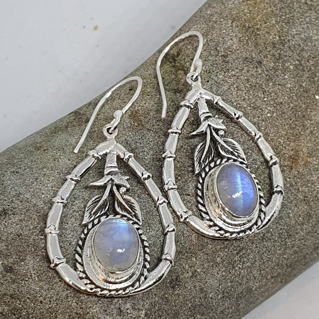 Moonstone earrings with open bamboo style frame image 1
