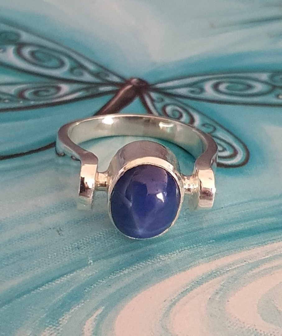 Sterling silver blue star sapphire ring - made in NZ image 3