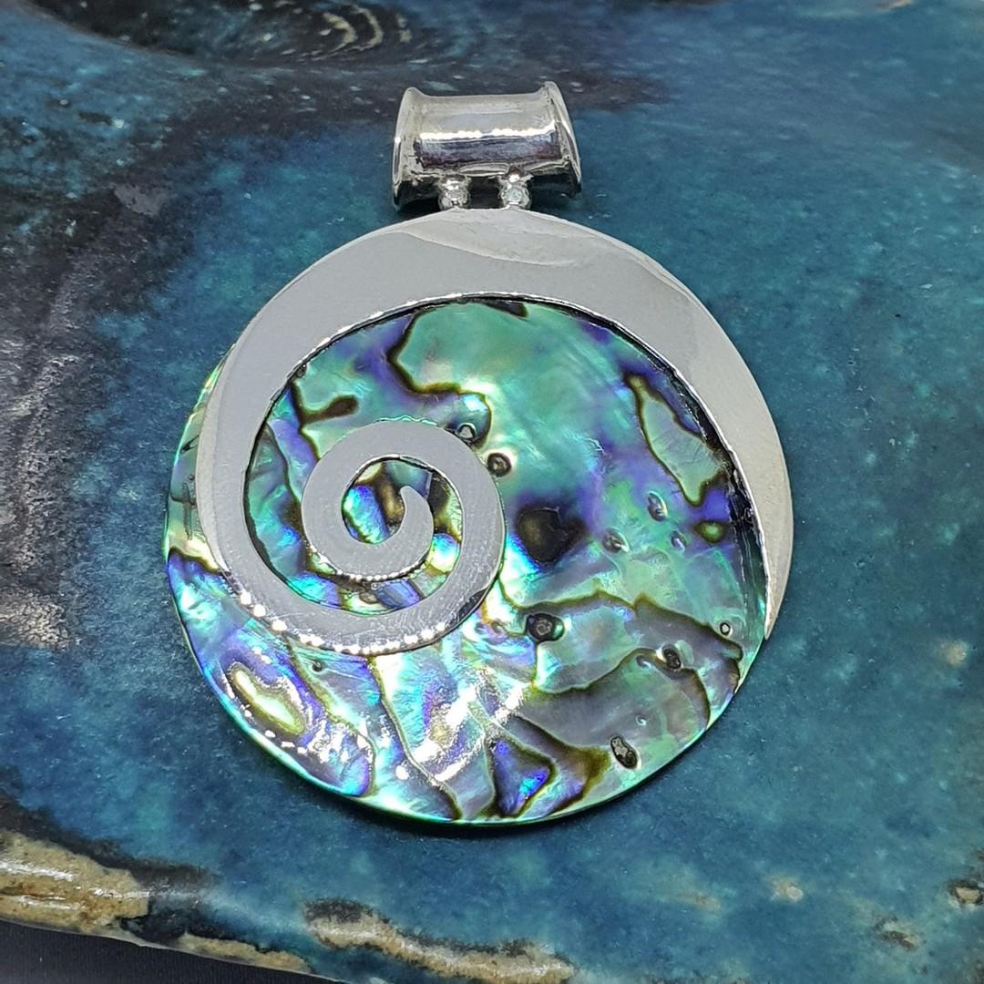 NZ Paua Shell Silver Pendant with Koru image 0