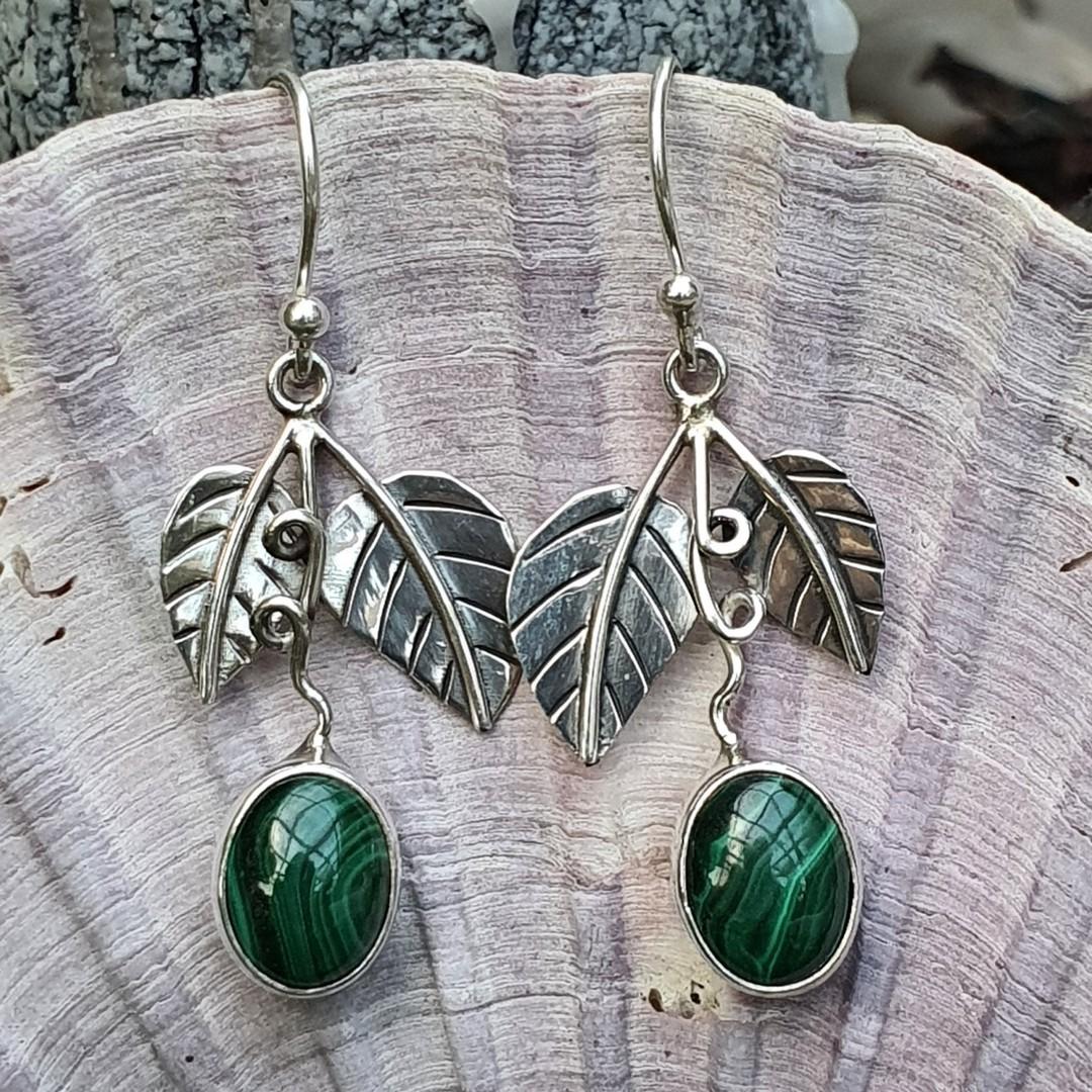 Sterling silver malachite gemstone earrings image 1