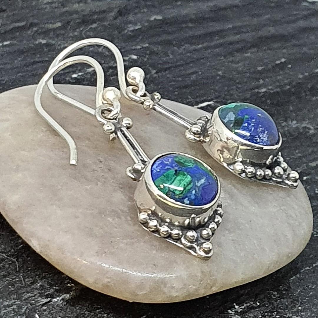Sterling silver azurite malachite gemstone earrings image 1
