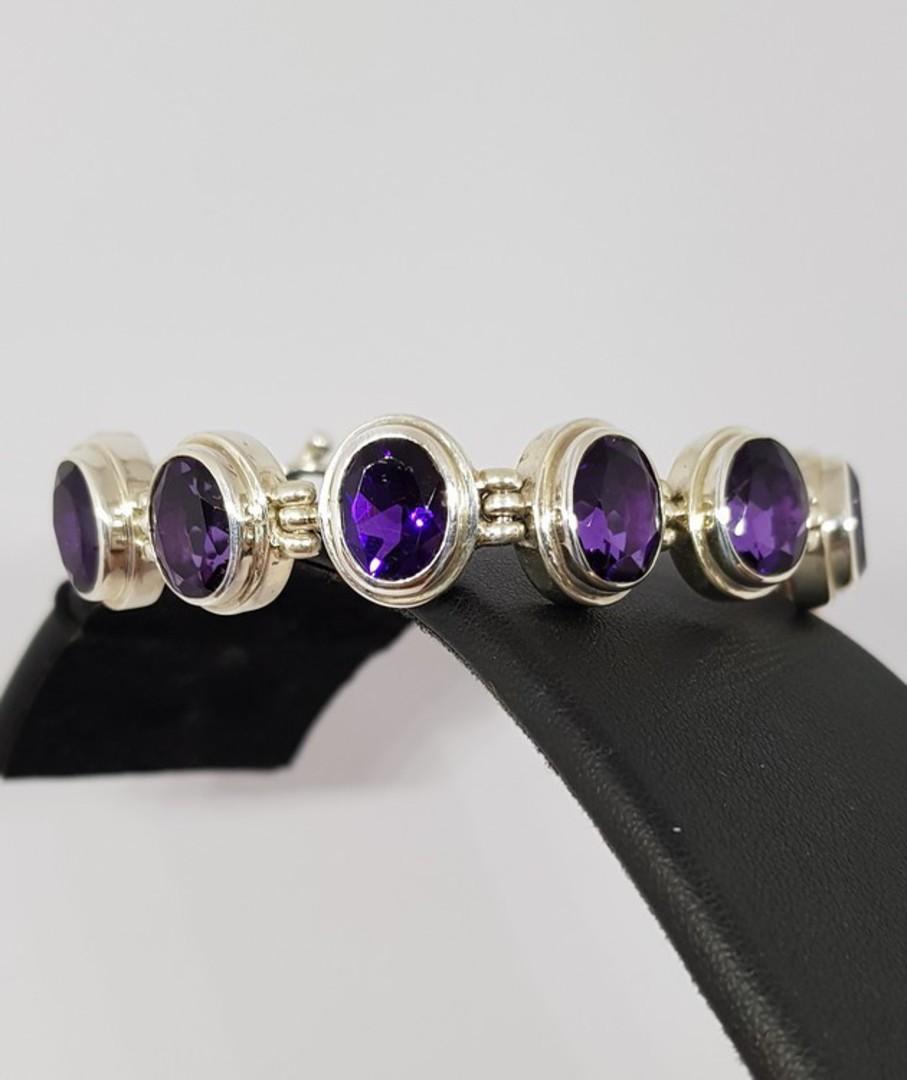 Silver Amethyst Bracelet image 0