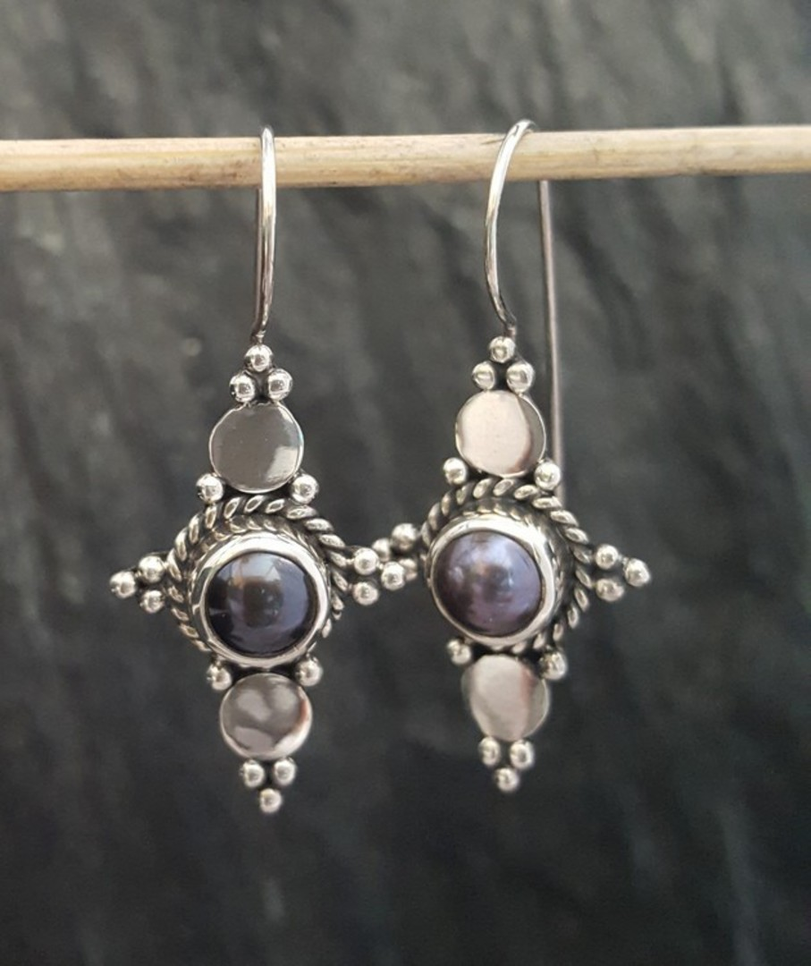Long hook silver blue grey pearl earrings image 4
