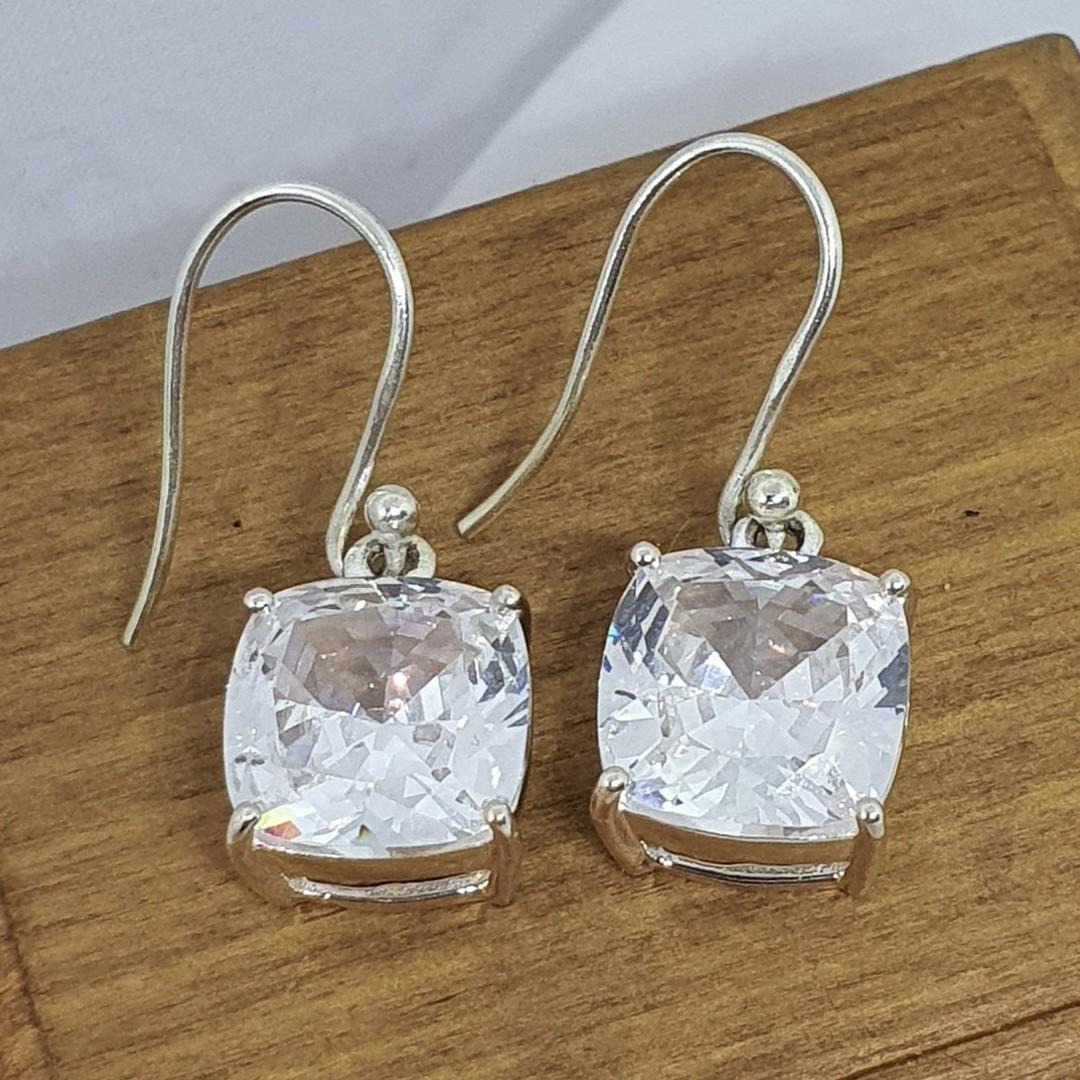 Princess cut cubic zirconia earrings image 1