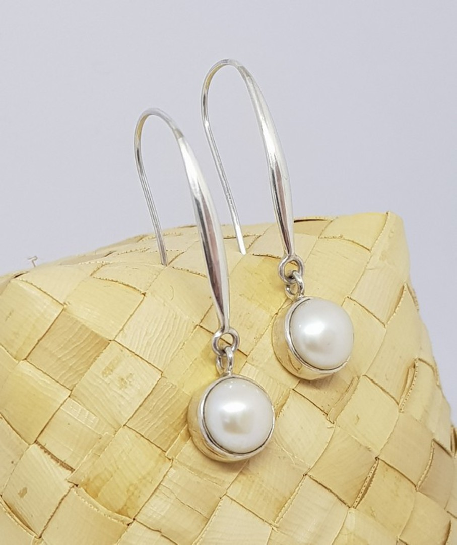 Fresh water pearl earrings, long drop, elegance + image 1