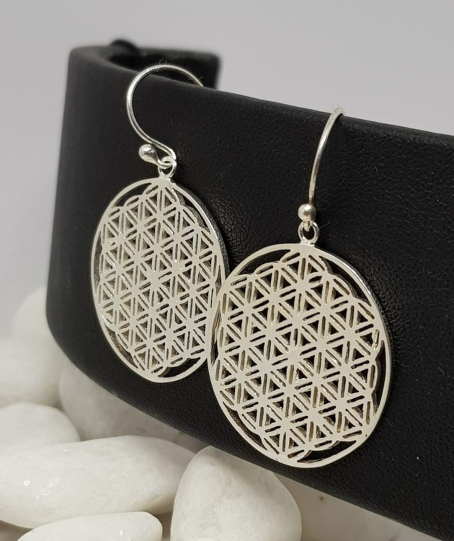 Silver earrings with triangle infinity pattern image 0