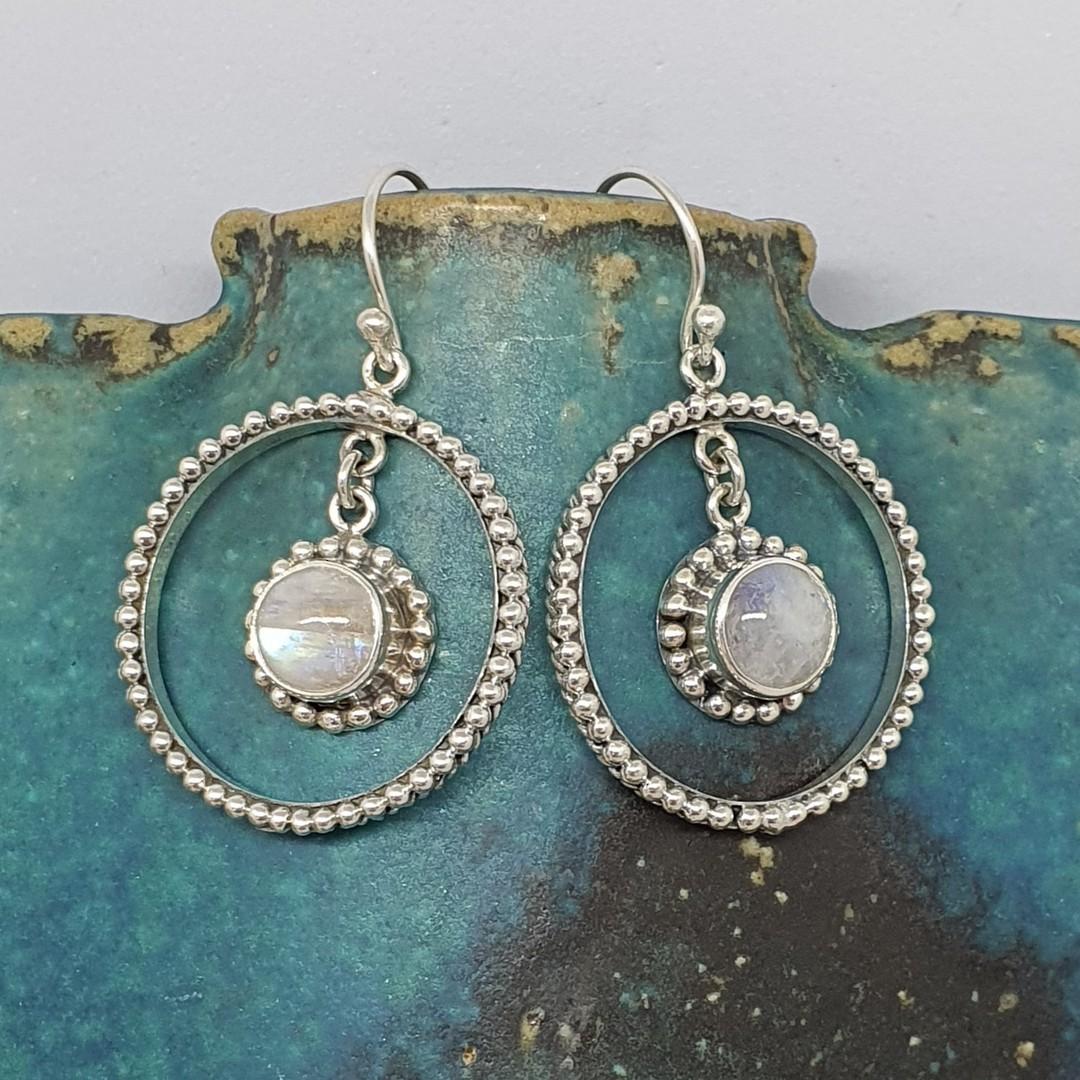 Fabulous, large decorated moonstone gemstone hoop earrings image 3