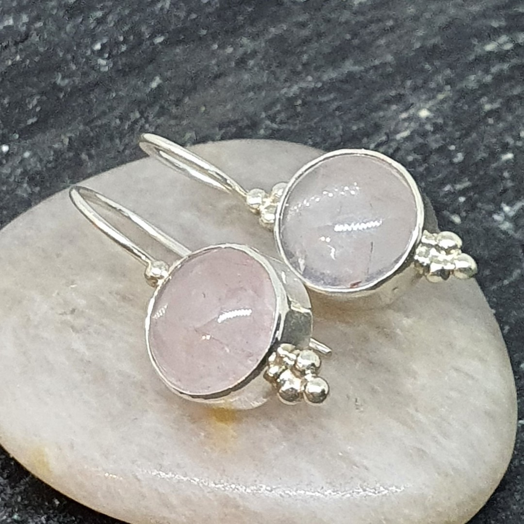 Sterling silver rose quartz hook earrings - one pair only image 0