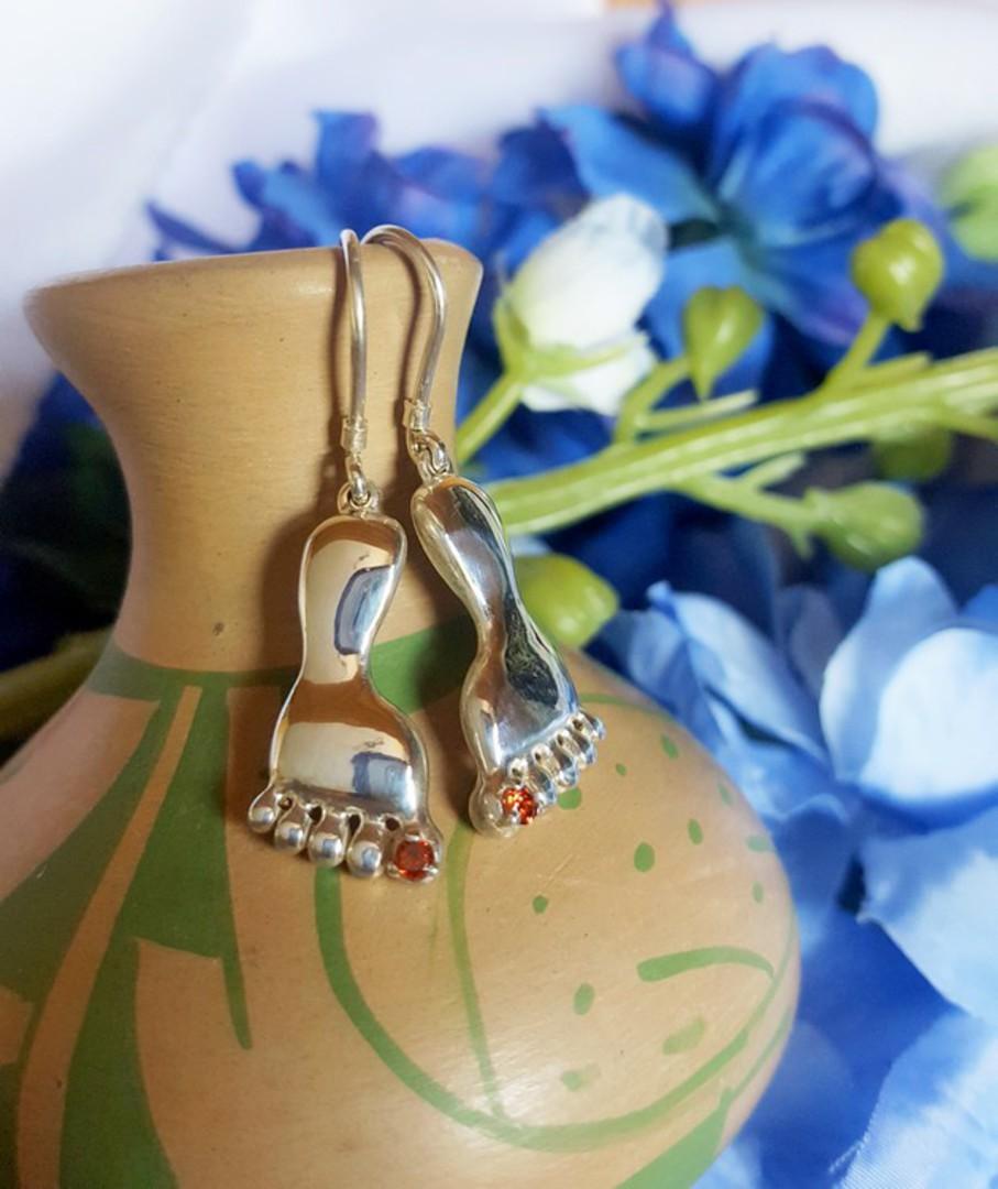 Silver Garnet Foot Earrings image 0