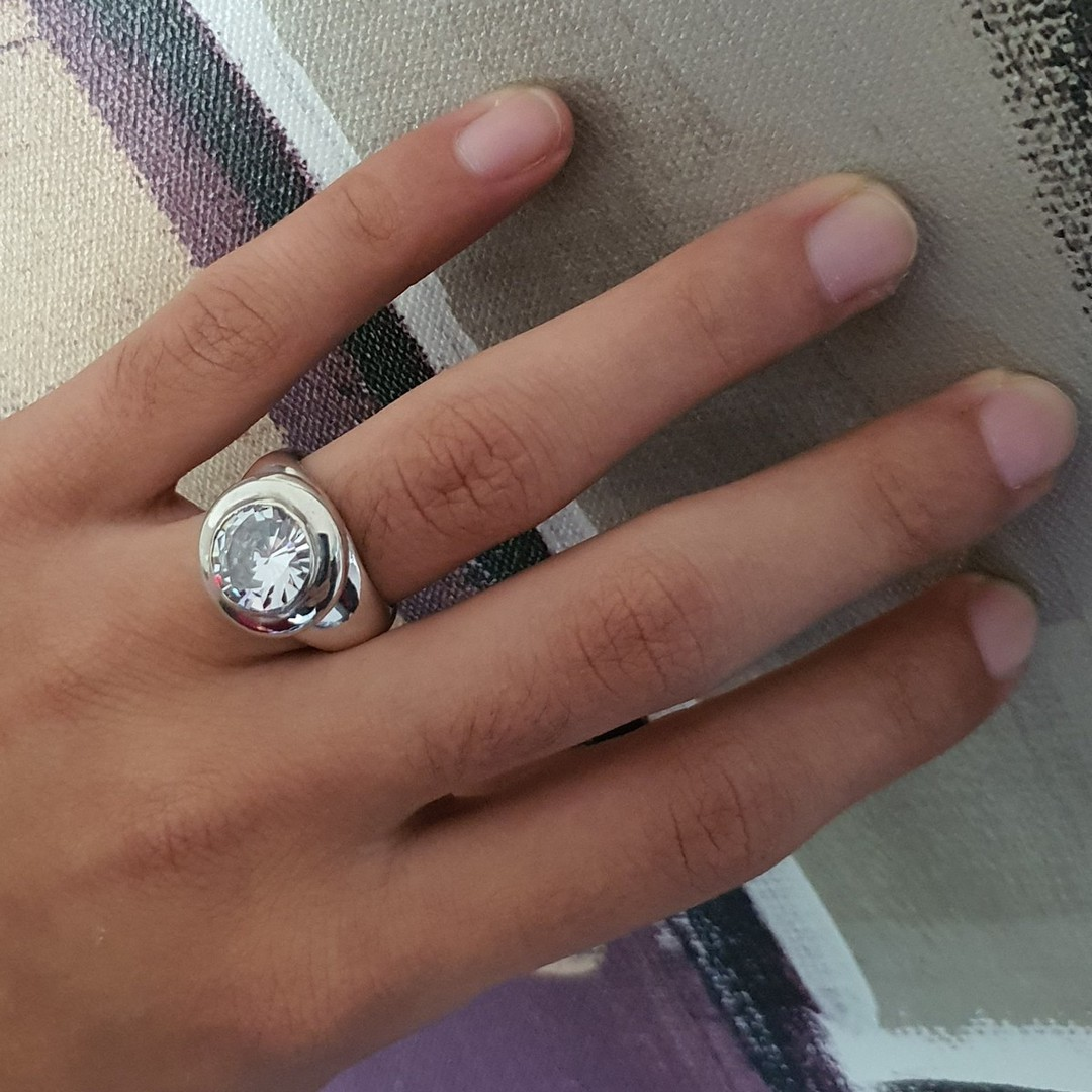 Made in NZ, chunky silver cubic zirconia ring image 1