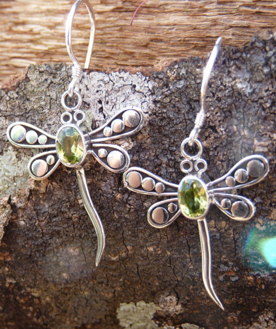 Silver peridot dragonfly earrings image 1