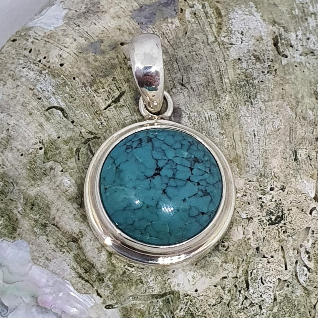 Sterling silver round turquoise pendant image 2