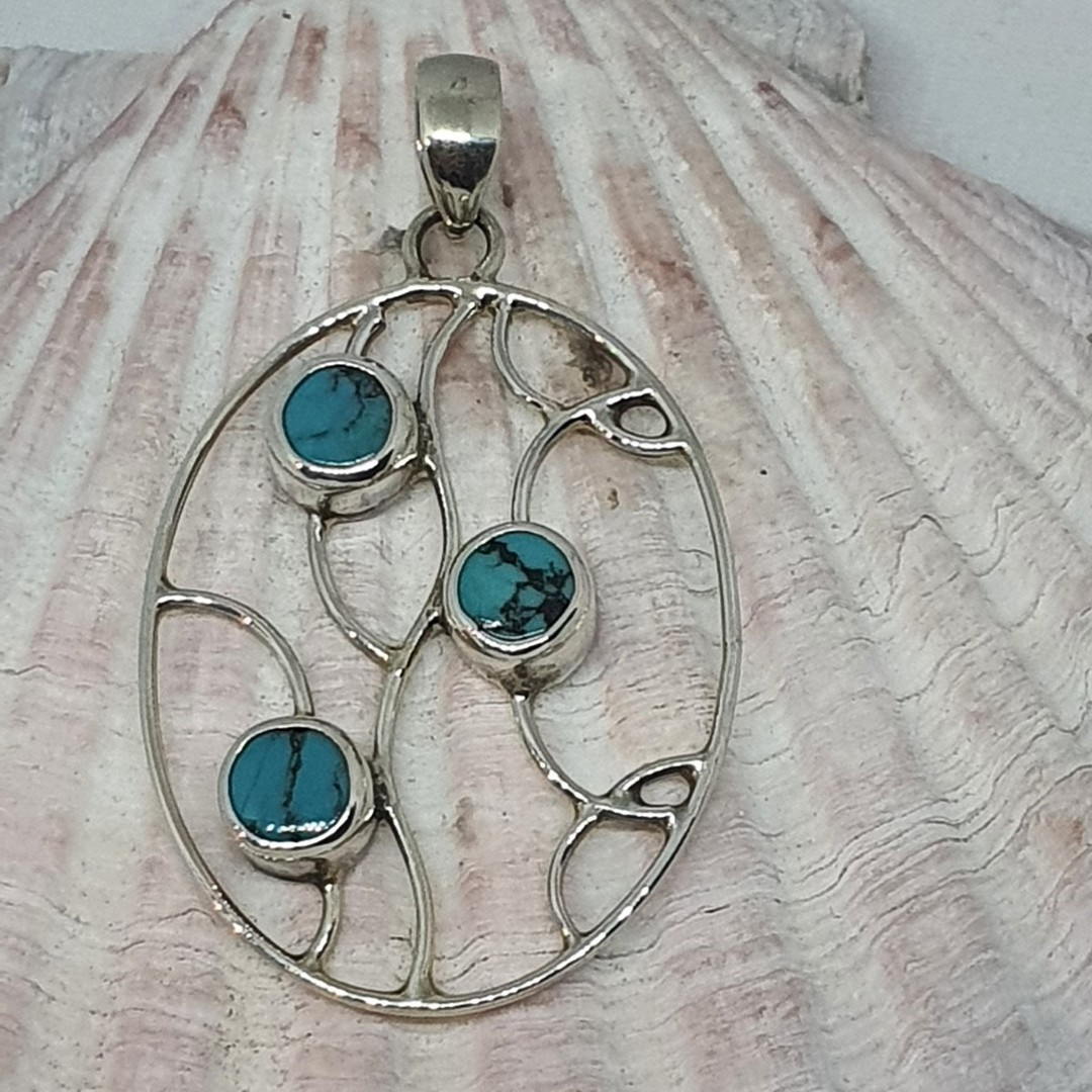 Sterling silver turquoise pendant image 2