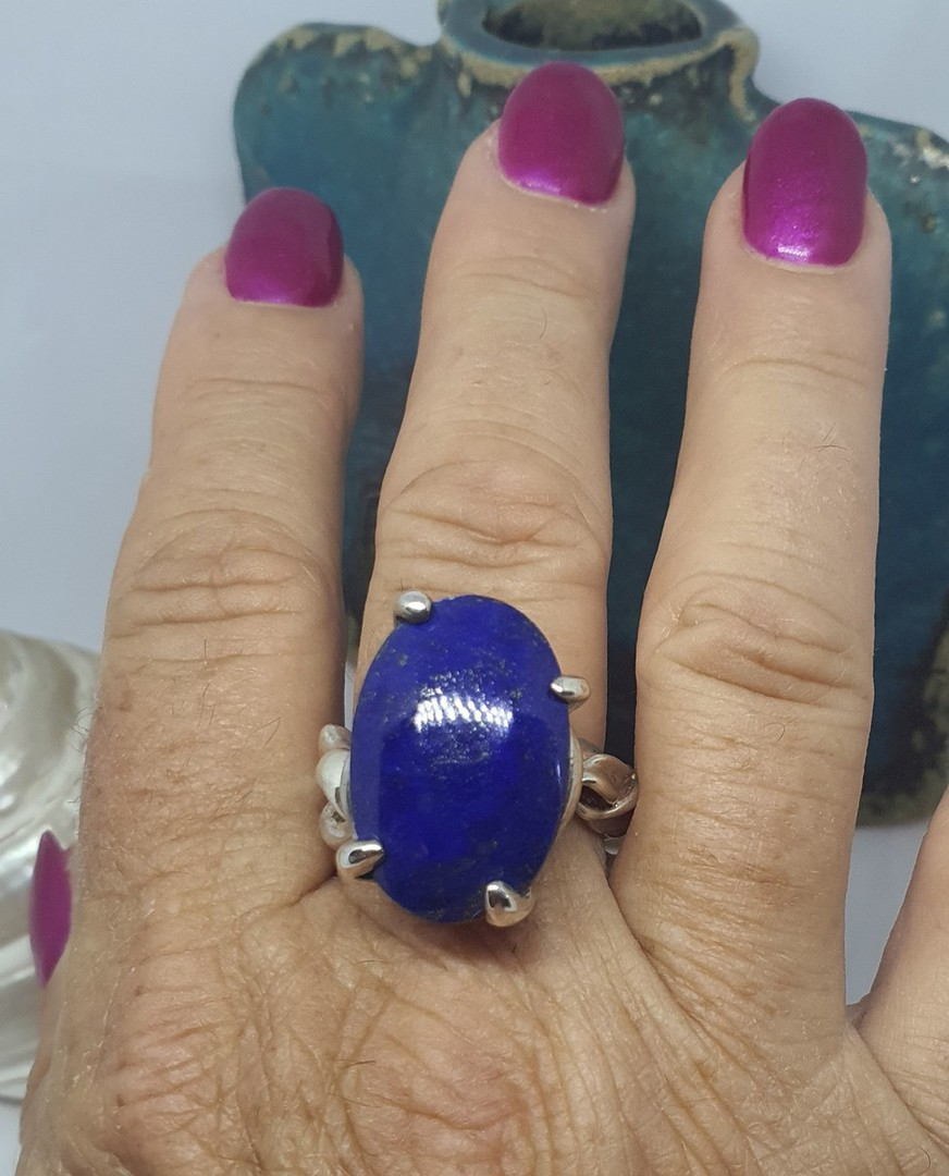 Chunky sterling silver lapis lazuli ring image 2