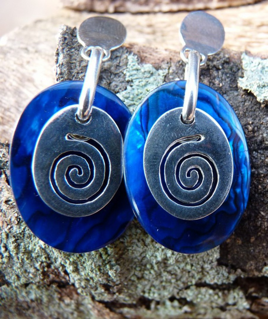 Nz paua shell earrings with koru design image 2