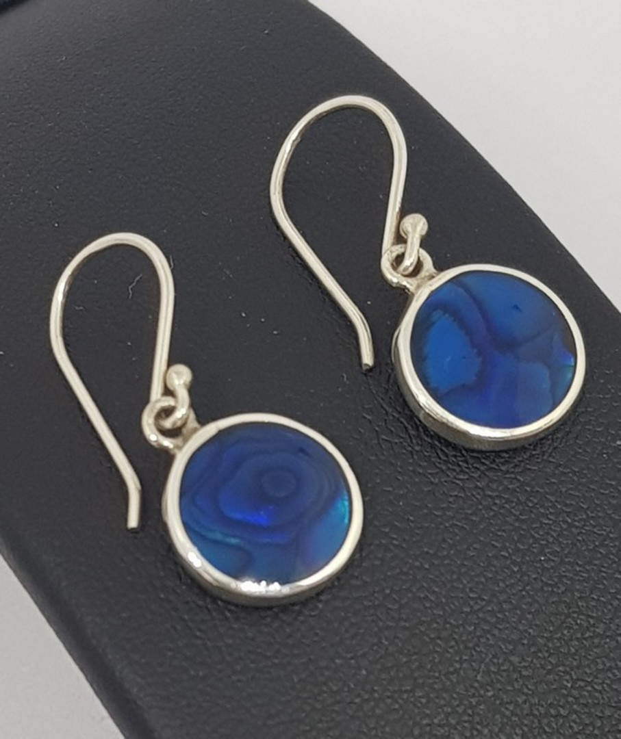 Cobalt blue - dyed paua silver earrings image 1