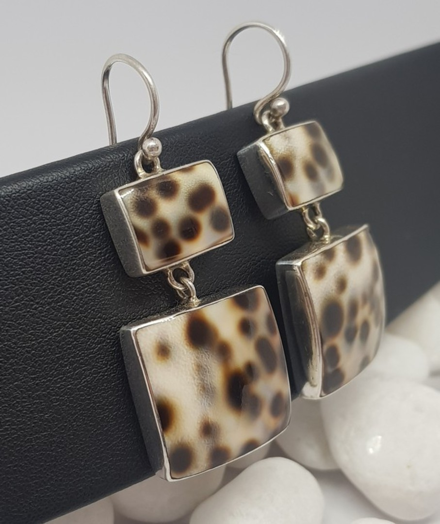 Large statement cowrie shell silver earrings image 1