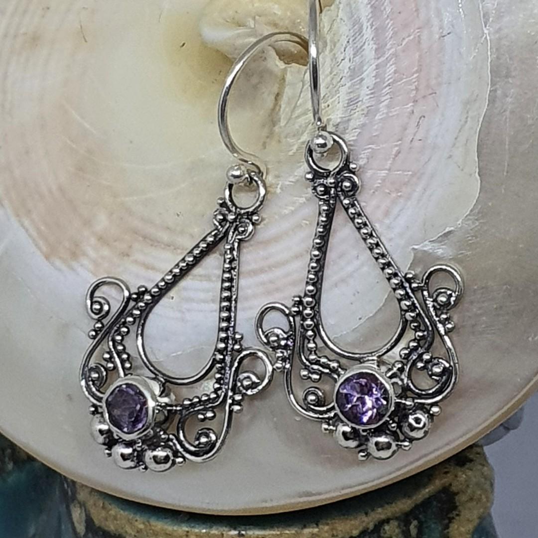 Sterling silver filigree amethyst earrings image 0