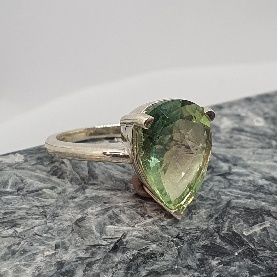 Sterling silver green fluorite ring image 5