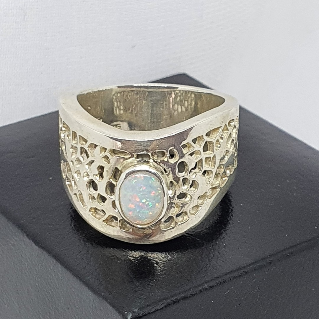 Sterling silver wide lace ring with opal image 2