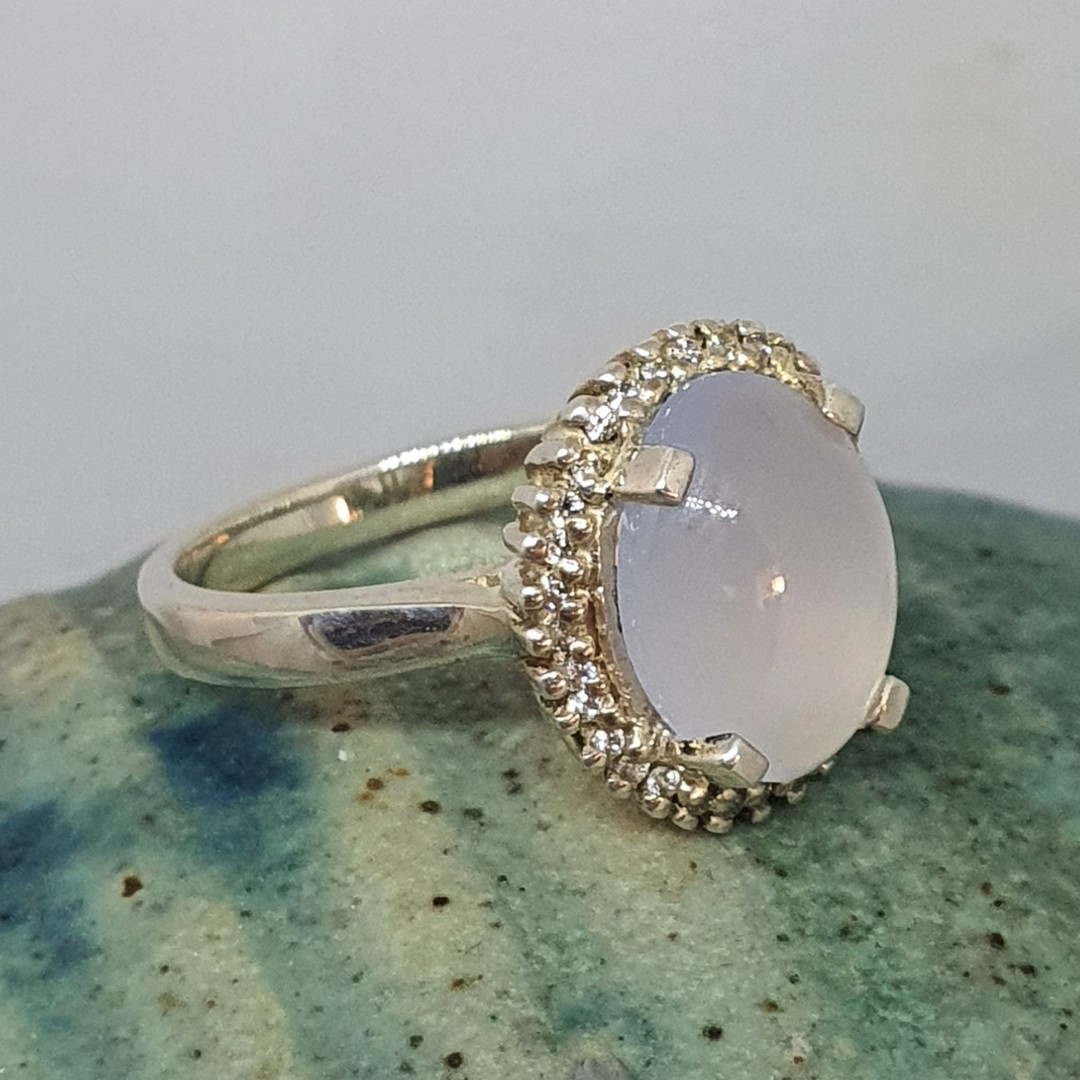 Sterling silver chalcedony ring image 2