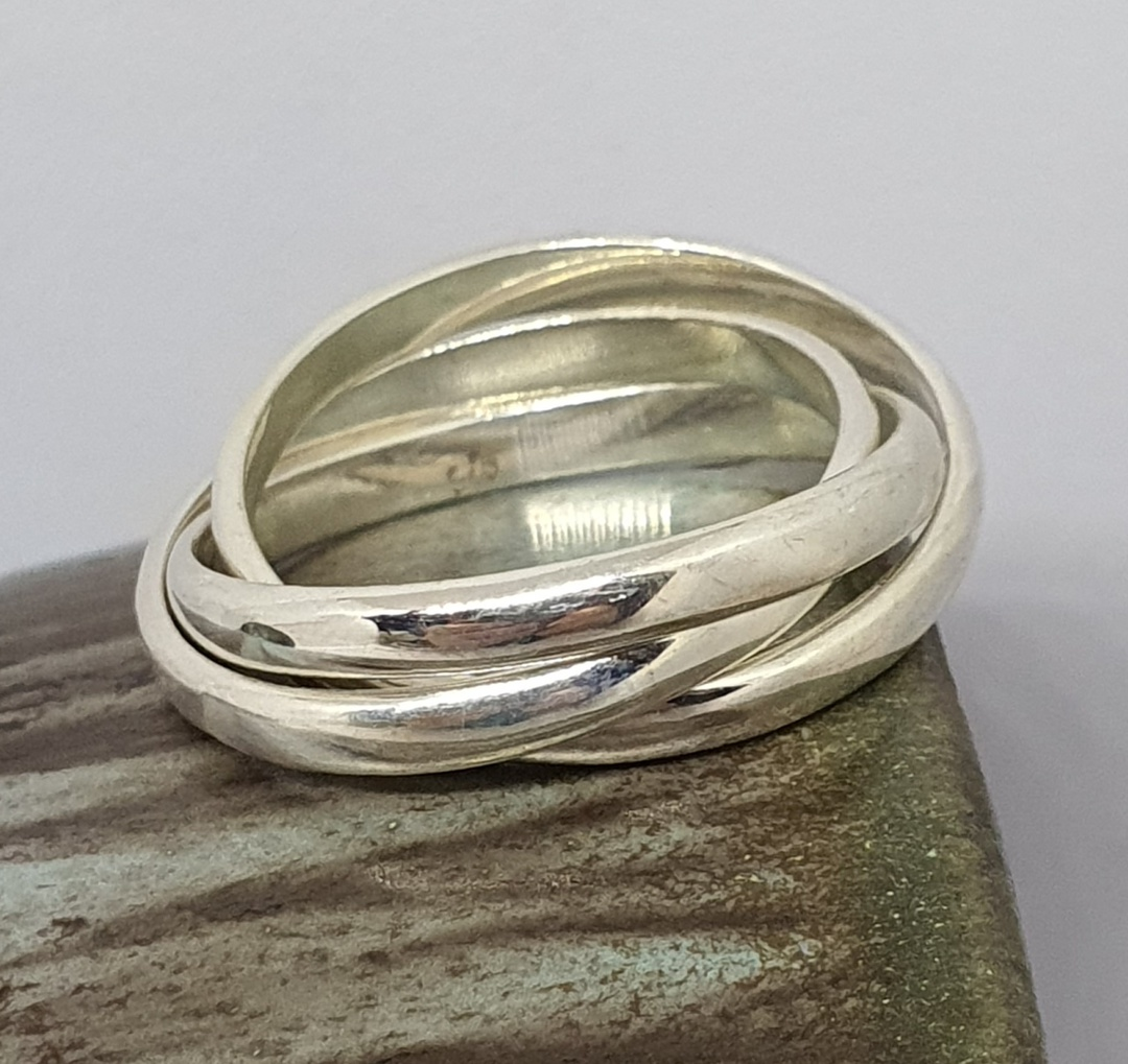 Sterling silver interlocking rings - three bands of funky fun image 2