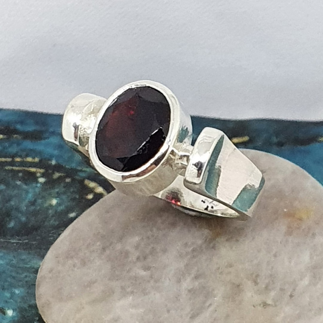 Facet cut garnet ring, sterling silver, made in NZ image 1